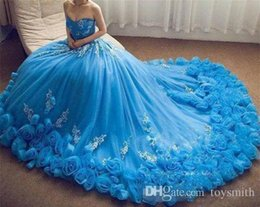 $enCountryForm.capitalKeyWord NZ - 2019 Sweetheart Blue Quinceanera Dress Appliques Elegant Sleeveless Hand Made Flower Long Train Prom Dress Party dresses Custom
