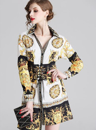 Wholesale long shirts dresses online – Scarf printed long sleeve women shirt dresses with bandage gorgeous skirt summer Hi Lo Asymmetrical dresses