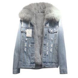 $enCountryForm.capitalKeyWord Australia - 2018 new loose women's denim coat real rabbit fur line female jacket long sleeve detachable fox fur jeans jacket with parka