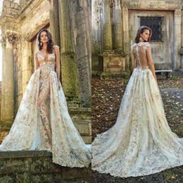 $enCountryForm.capitalKeyWord NZ - Wedding Dresses with Detachable Skirt Train 2019 Newest Sexy See Through Backless Deep V Neck Lace Appliques Bridal Gowns vestidos de novia