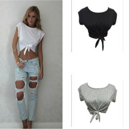Women Blouse Style T Shirt Australia - Women Knotted Tie Front Crop Tops Cropped Lumbar T Shirt Casual Blouse Tank Top Camis Sleeveless White Grey Black Color