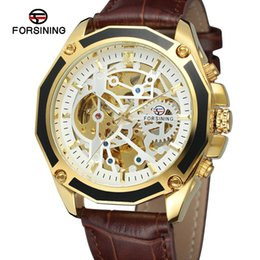 leather gear for men Australia - Hollow Gear Skeleton Automatic Mechanical Watch Wristwatch for men Leather Band Classic Male Clock