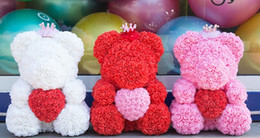 Artificial Flowers For Decoration Box NZ - 5pcs DropShipping 25cm with Heart Big Red Bear Rose Flower Artificial Decoration Christmas Gifts for Women Valentines Gift with box