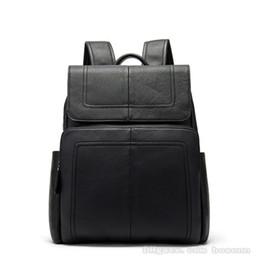 77760c1334240 2019 stilvolle echtes leder rucksack 14 zoll laptop-tasche reise rucksack  schultasche flap-over schulter daypack für männer schwarz