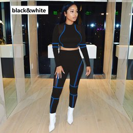 Lace Long sLeeve womens top online shopping - Women Designer Sport Suits Womens Sexy Tops Pants Lace Hollow Out Panelled Women Fashion Active Tracksuits