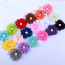 "60PCS 2.5"" Mesh Hair Flower Rhinestone Pearl Cluster Hair Accessories Fashion Accessory For Hairclip For Head band"