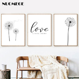 Discount dandelion canvas art - Dandelion Print Black and White Minimalist Poster Love Quote Canvas Painting Scandinavian Art Picture Nordic Style Home