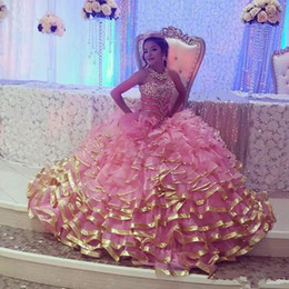 light pink gold quinceanera dresses Australia - Pink gold edge Sweet 16 Quinceanera Dresses Sweetheart Ruffle Train Crystal Beading Vestidos De 15 Anos Debutante Gowns Plus Size