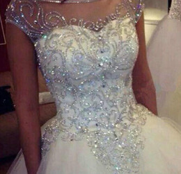 $enCountryForm.capitalKeyWord Australia - Ball Gown Wedding Dresses New Gorgeous Dazzling Princess W1455 Bridal Real Image Luxurious Tulle Handmade Rhinestones Crystal Sheer Top