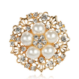 small rhinestone pearl brooch NZ - Dress Brooch Small Rhinestone Flower Silver-color Simulated Pearl Brooches for Women Wedding Bridal Broach Breastpin Jewelry Accessories