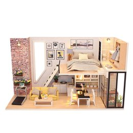 miniatures pvc toys UK - Assemble Doll House Wooden Furniture Diy House Miniature Puzzle Toy 3D Miniaturas Dollhouse Kits Toys For Children Birthday Gift