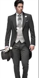 Morning suit sliM fit online shopping - Morning Style One Button Dark Grey Wedding Groom Tuxedos Peak Lapel Groomsmen Men Suits Prom Blazer Jacket Pants Vest Tie NO