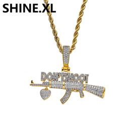 ak guns UK - 18K Gold Plated AK-47 Gun DON'T SHOOT Pendant Necklace Iced Out Zircon Mens Hip Hop Jewelry Gift