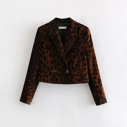 $enCountryForm.capitalKeyWord UK - Retro Leopard Print Women Velvet Suit Jacket Casual Lady Long Sleeve Coat Fashion Streetwear Outerwear Loose Tops C488