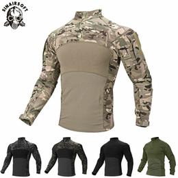 Mens Camouflage Tactical T Shirt Zip Pocket Long Sleeve Cotton Breathable G3 Combat Frog shirt Men Training Shirts T-Shirt on Sale