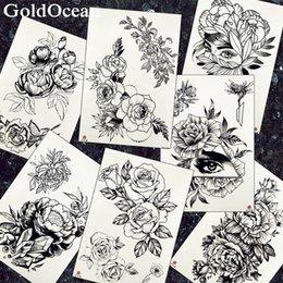 Frauen Mode Tattoos Temporäre Schwarze Armband Blume Arm Art Tattoo Gefälschte Augenmädchen Taille Flora Wasserdichte Tatoos Sketch Kosmetik