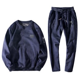 velvet sportswear set Australia - Plus Size Winter Warm Velour Tracksuit Men 2 Piece O-neck Sweat Suits Long Track Pants Velvet Tracksuit Mens Sportswear Set
