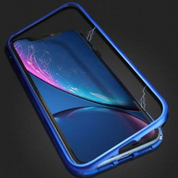 aluminum phone case wholesale UK - Magnetic Adsorption Metal Phone Case for iPhone Xr Xs Max X 8 Plus Full Coverage Aluminum Alloy Frame with Tempered Glass Back Cover