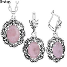 $enCountryForm.capitalKeyWord Australia - Fashion Sets Vintage Pink Quartz Necklace Earring Jewelry Set Hollow Flower Natural Stone Antique Sliver Plated For Fashion Jewelry