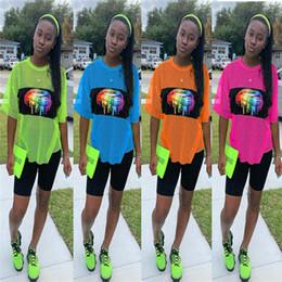 Orange lip online shopping - Women Summer Mesh Tracksuit Short Sleeve Rainbow Lips Print T shirt Shorts Piece Quick Dry Sportswear Jogging Outfits Street Suit C41603