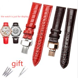 Discount genuine lizard leather - Black Brown Red Lizard Pattern Genuine Leather 16 18 20 22 MM Watche Band Strap Belt Watchband Folding Clasp   Buckle Wa