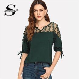 fddb54a435191 Womens half shirts online shopping - Green Contrast Mesh Knot Half Sleeve  Blouse Women Top Elegant