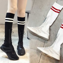 white lace knee high socks 2020 - 2019 Socks boots autumn new women's mesh high boots Korean version of the casual high tube flat white cheap white l
