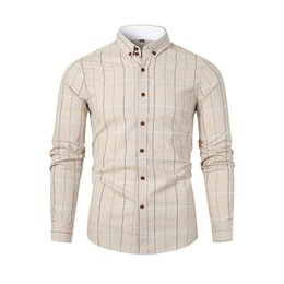 simple shirt blouse Australia - Men's Shirts Casual Long Sleeved Plaid Simple Solid Color Shirt Autumn & Winter Slim Fit Shirts Turn Down Collar Top Blouse