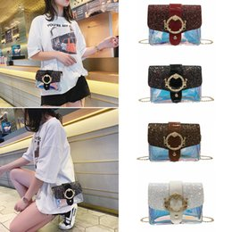 Wholesale 4styles Laser sequin chain flap single shoulder bag monkey decor messenger beach bag lady crossbody bags outdoor storage bag FFA2138