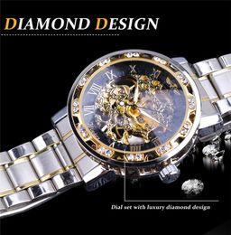 AutomAtic wAtch geArs online shopping - Fashion Big brand Winner Transparent Fashion Diamond Display Luminous Hands Gear Movement Retro Royal Design Men Mechanical watches