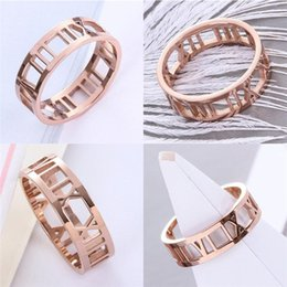 $enCountryForm.capitalKeyWord Australia - Hot Ring Titanium Steel Roman Numerals Cutout Rings Rose Gold Color Hollow Out Wedding Party New Stylish Jewelry