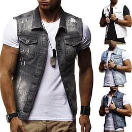 $enCountryForm.capitalKeyWord NZ - New Men's brand Denim waistcoat Large size water washed holes drop ship fashion clothes spring autumn summer top coat