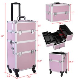tattoo covers NZ - 3 in 1 aluminum cosmetics cosmetic case storage box beauty box 360 ° rotatable trolley tattoo box pink