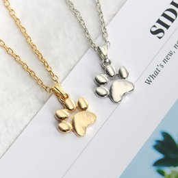 Dog penDant footprint online shopping - Fashion Pet Dog Cat Footprint Gold Animal Pendant Necklaces for Women Girls Jewelry Party Sweater Chain Necklace