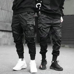 $enCountryForm.capitalKeyWord Australia - New Fashion Men Ribbons Color Block Black Pocket Cargo Pants 2019 Harem Joggers Casual Sweatpant Hip Hop Trousers