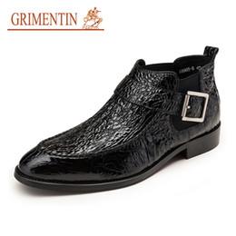 Italian Shoe Boots Men Australia - GRIMENTIN Hot Sale Fashion Brand Men Boots Patent Leather Crocodile Style Black Brown Dress Mens Ankles Boots Italian Designer Male Shoes