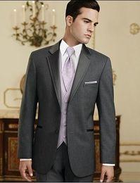 $enCountryForm.capitalKeyWord Australia - Custom Made New Charcoal Grey Men's Suits Groom Tuxedos Notch Lapel Groomsmen Men Wedding Suit(Jacket+Pants+Tie+Vest)H471