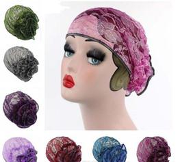 389b606f627 Women Muslim Stretch Turban Hat Cotton Chemo Cap Hair Loss Head Scarf Wrap  Hijib Cap Big Flower TurbanWomen Muslim Stretch Turban Hat Cotton