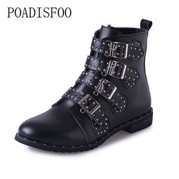 Buckle Studded Boots NZ - Black Studded Leather Ankle Boots Buckles Low Heeled High Women Boots Zapatos Mujer Ladies Shoes Size 42 HYKL-6618
