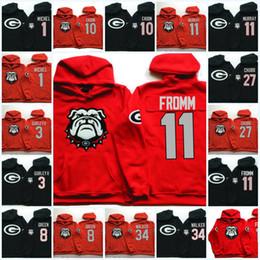 Mens NCAA Georgia Bulldogs Jake Fromm hoodie Nick Chubb Herchel Walker Sony Michel DAndre Swift Todd Gurley II A. J. Green Bulldogs hoodie on Sale