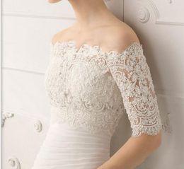 $enCountryForm.capitalKeyWord Australia - Luxurious sexy Bateau Lace Bolero Half Sleeves Classic Lace Bridal Jacket Wrap Bridal Accessory Custom Made Bridal Accessories