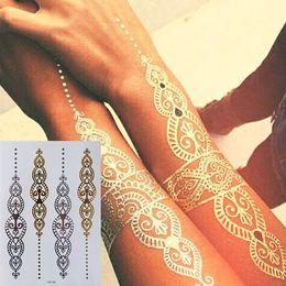 $enCountryForm.capitalKeyWord Australia - Body Art Painting Tattoo Stickers Glitter Metal Gold Silver Temporary Flash Tattoo Disposable Indians Tattoos T190711
