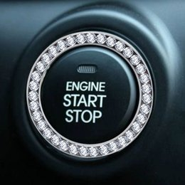 $enCountryForm.capitalKeyWord Australia - 100PC Car SUV Bling Decorative Accessories Button Start Switch Silver Diamond Ring starter switch decorative circle