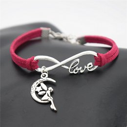$enCountryForm.capitalKeyWord Australia - Fashion Simple Metal Infinity Love Moon Star Fairy Angel Pendant Adjustable Charm Cuff Bracelet For Women Men Rose Red Leather Suede Jewelry