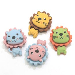 lion cartoons Canada - New Kawaii 19*25MM Resin Cute Lion Cabochons Lovely Cartoon Baby Lion Slime Charms Flatback Flat Back Resin Animal Lion Cabs