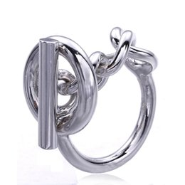 sterling silver french Australia - 925 Sterling Silver Rope Chain Ring With Hoop Lock For Women French Popular Clasp Ring Sterling Silver Jewelry Making