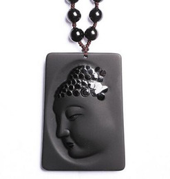 $enCountryForm.capitalKeyWord Australia - 52x33mm beautiful work handmade Chinese black Natural obsidian carved kwan-yin lucky pendant amulet + pearl necklace fashion jewelry