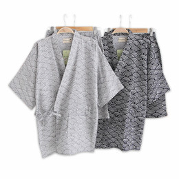 black cotton bathrobe UK - Simple Wave 100% Cotton Short Pyjamas Men Short Sleeves Sleepwear Japanese Kimono Pajamas Sets Shorts Homewear Bathrobe Bedgown Y19051701