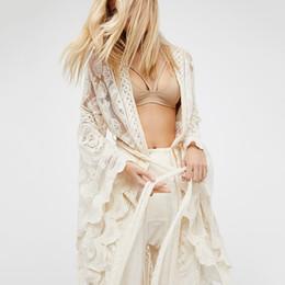 Wholesale beachwear dresses for women resale online – Bohemian White Lace Long Bikini Beach Cover Up For Women Hollow Swimwear Dress Blouse Coat Casual Bathing Suit Beachwear