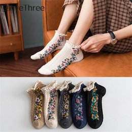 white rose pattern UK - Ethnic style rose curly lace cotton short twist patterned socks cute fresh Japanese retro small floral ankle socks Lolita